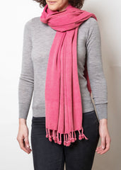 lady wearing pink coral hammam wrap