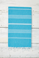 turquoise blue hammam towel with tassels