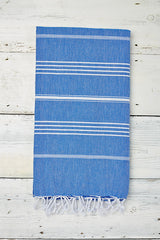 mid blue hammam towel with tassels