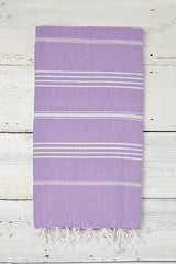 light purple hammam towel with stripes