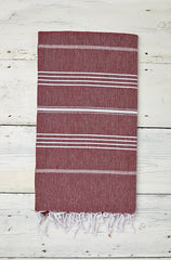 Sorbet Hammam Towel in Blackcurrant Red