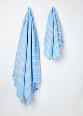 Hanging Large and Small Sorbet Hammam Towel in Blue Skies