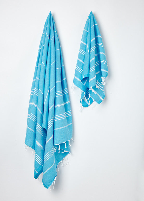 small blue stripy hammam tea towel