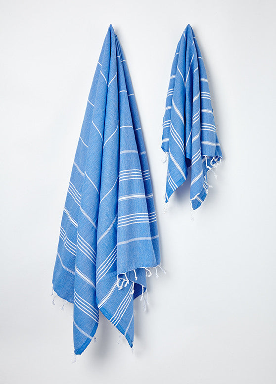 blue stripy hammam tea towel