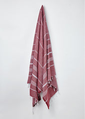Hanging Sorbet Hammam Towel in Blackcurrant Red