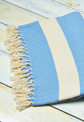 blue and white woven thrown