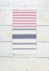 pink, blue and white striped hammam towel