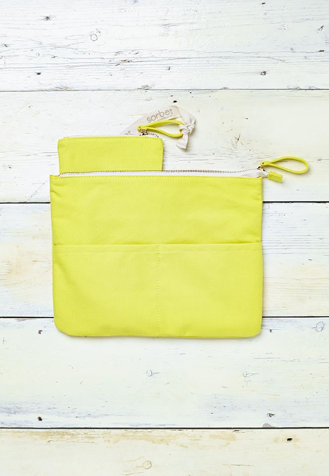 yellow beach clutch bag with detachable coin purse