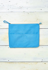 blue cotton clutch for beach and every day