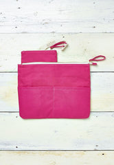 bright pink beach clutch bag with detachable coin purse