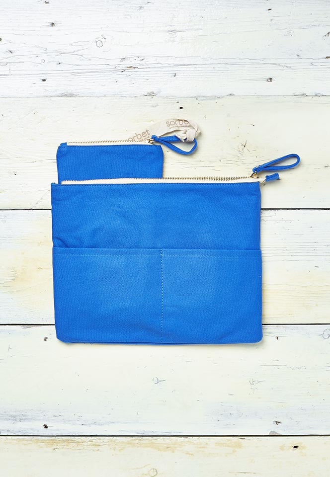 blue beach clutch bag with detachable coin purse