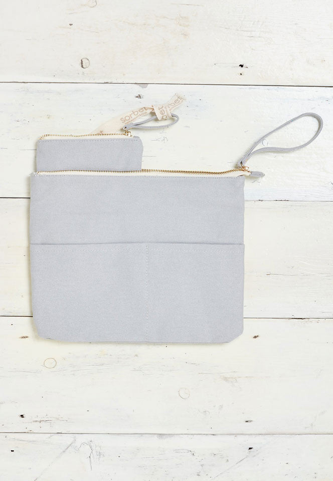 light grey beach clutch bag with detachable coin purse