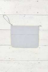 light grey zip-up pouch for beach