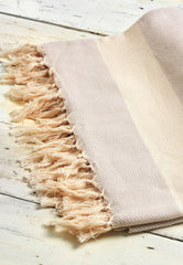 neutral beige cotton throw with herringbone weave