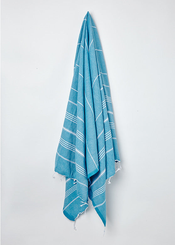 blue hammam towel with white fringe