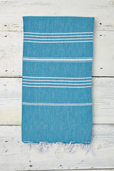 bright blue hammam towel with white stripes