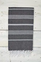 monochrome hammam towel with stripes