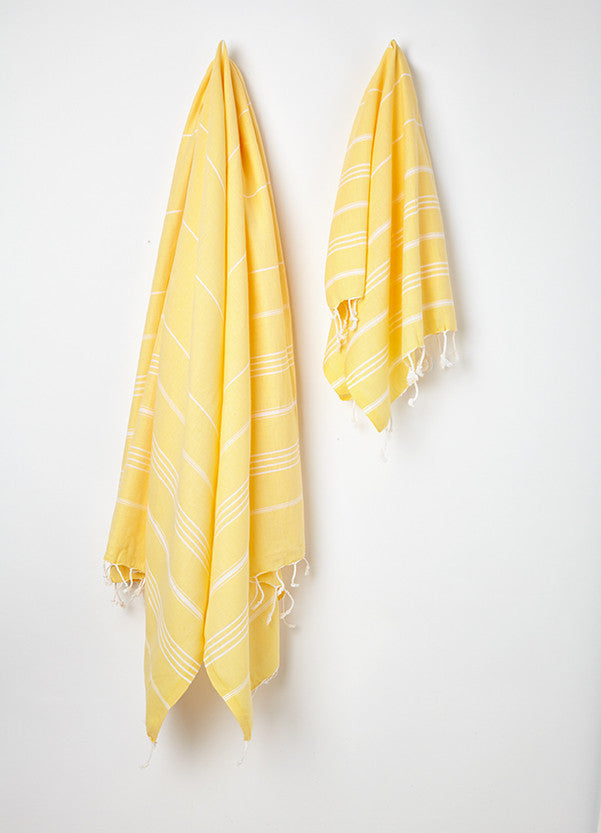 bright yellow turkish hammam towel uk