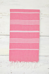 grapefruit pink hammam towel with tassels