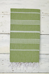 pistachio green hammam towel with tassels