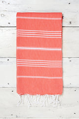 coral pink hammam towel with tassels