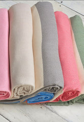 cotton turkish throws in pink beige grey and green