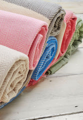 cotton turkish throws in pink blue beige grey and green