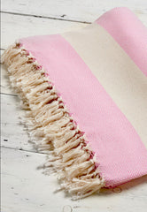 pink herringbone woven throw