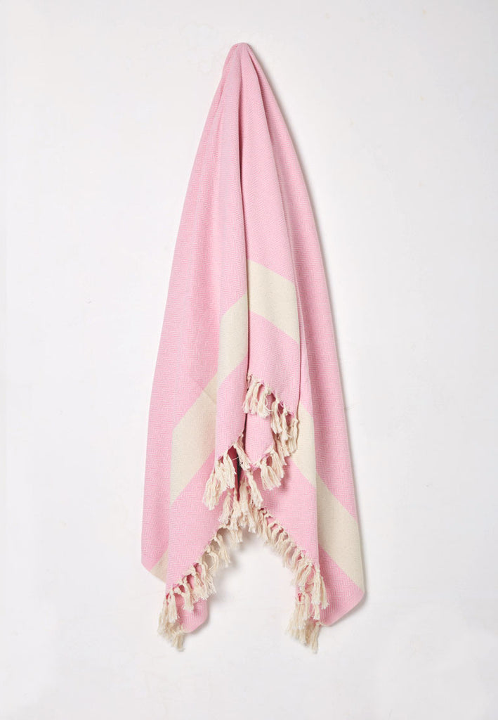 pink cotton woven throw