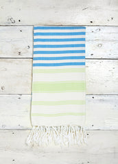 bamboo hammam towel blue stripes