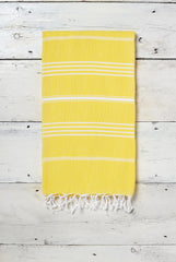 bright yellow hammam towel with stripes