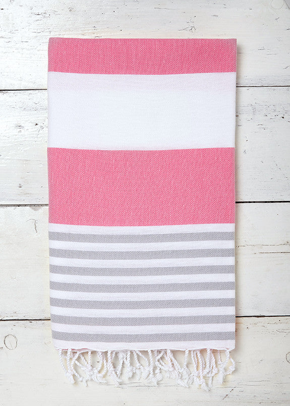 Strawberries and Cream Sorbet Hammam Towel in Pink, White and Grey
