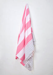 Large pink, grey, white stripy towel in Strawberries and Cream by Sorbet Ltd