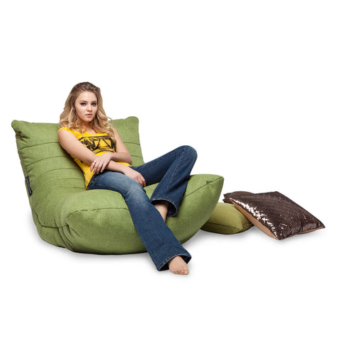 Lime Citrus Bean Bag by Ambient Lounge with cushion.