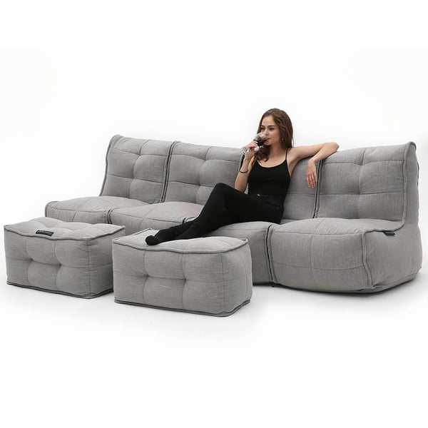 Grey fabric quad couch bean bags by ambient lounge for home cinema