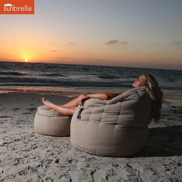 cream butterfly Sunbrella fabric bean bag by Ambient Lounge