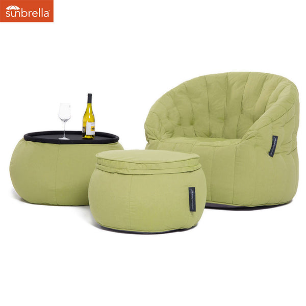 lime green designer sofa set Sunbrella fabric bean bag by Ambient Lounge