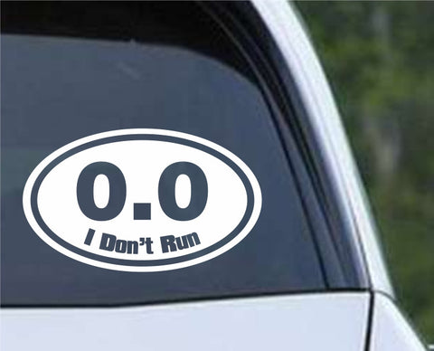 0.0 Funny Marathon Running Euro Oval Die Cut Vinyl Decal Sticker - Decals City