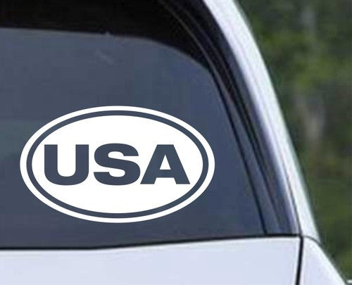 USA Euro Oval Die Cut Vinyl Decal Sticker - Decals City