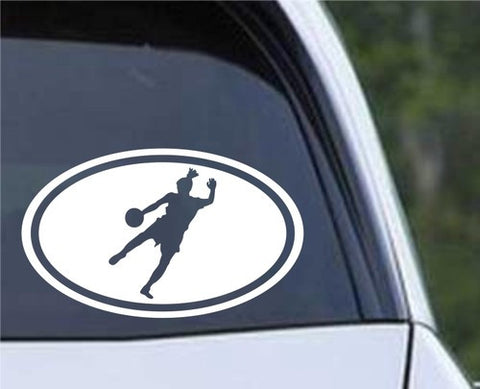 Soccer Girl Kicking Euro Oval Die Cut Vinyl Decal Sticker - Decals City