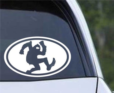 Bigfoot Sasquatch Euro Oval Die Cut Vinyl Decal Sticker - Decals City