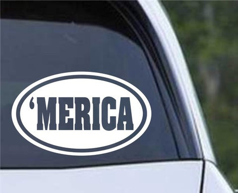 'MERICA Euro Oval Die Cut Vinyl Decal Sticker - Decals City