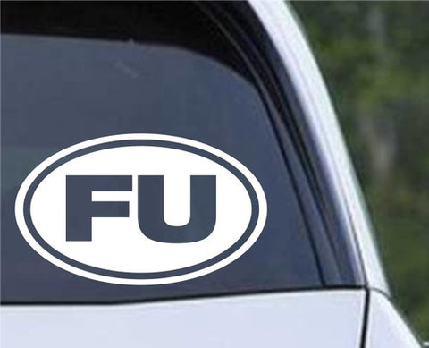"""FU"" Euro Oval Die Cut Vinyl Decal Sticker - Decals City"