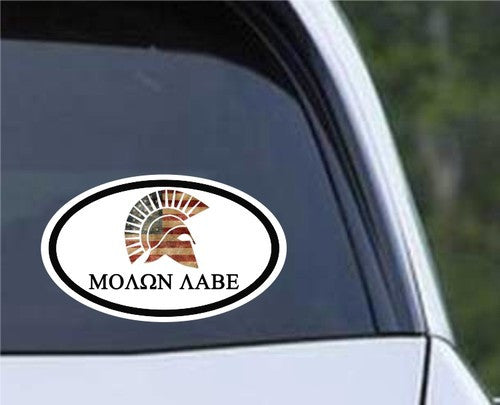 Molon Labe Euro Oval Die Cut Vinyl Decal Sticker - Decals City