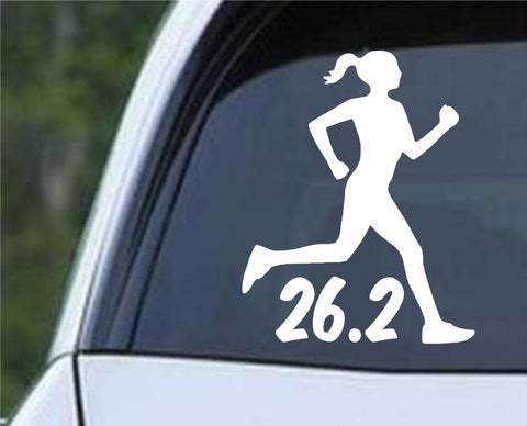 26.2 Marathon Running Girl Die Cut Vinyl Decal Sticker - Decals City