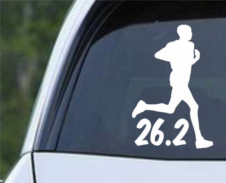 26.2 Marathon Running Man Die Cut Vinyl Decal Sticker - Decals City