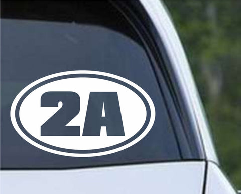 2A 2nd Amendment Euro Oval Die Cut Vinyl Decal Sticker - Decals City
