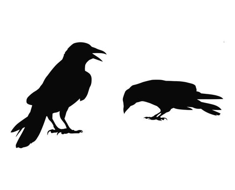 2 Crows Silhouette Die Cut Vinyl Decal Sticker Set of Two