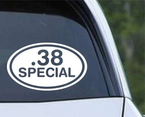 .38 Special Bullet Ammo Rifle Euro Oval Die Cut Vinyl Decal Sticker - Decals City