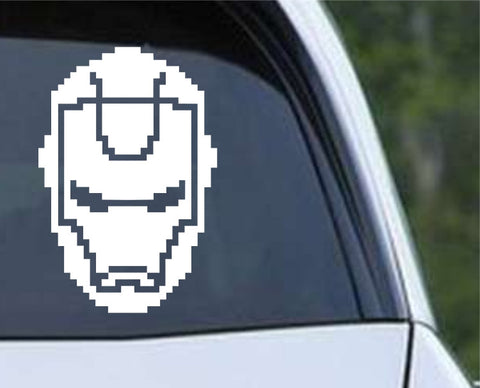 8 Bit Iron Man Head Die Cut Vinyl Decal Sticker